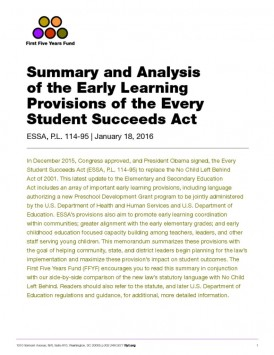 Analysis: Early Learning Provisions of the Every Student Succeeds Act