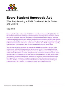 What Early Learning in ESSA Can Look Like for States and Districts