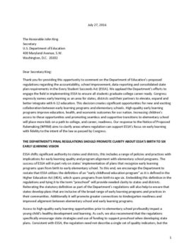 Joint Comments on ESSA Proposed Regulations on Accountability and State Plans