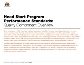 Head Start Program Performance Standards: Quality Component Overview