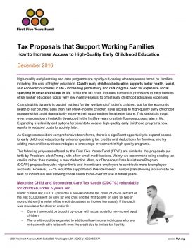 Tax Proposals that Support Working Families