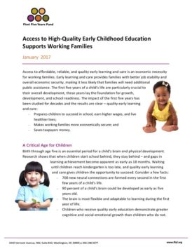 Access to Quality ECE Supports Working Families