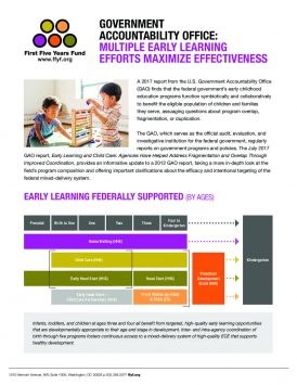 Government Accountability Office: Multiple Early Learning Efforts Maximize Effectiveness