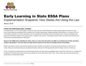 Early Learning in State ESSA Plans: How States Are Using the Law