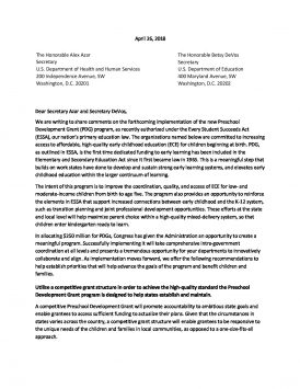 Joint Letter on Implementation of Preschool Development Grants Program