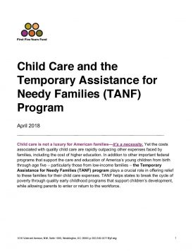 Child Care and the Temporary Assistance for Needy Families (TANF) Program